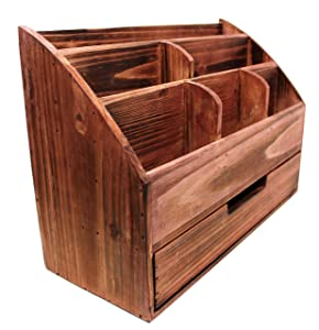Vintage Cherry Wooden Office Desk Organizer & Mail Rack for Desktop, Tabletop, or Counter - Distressed Torched Wood – for Office Supplies, Desk Accessories, Mail