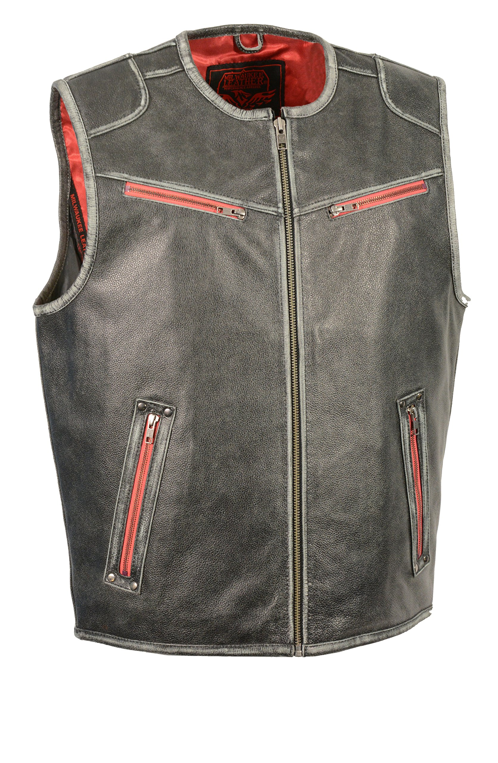 Milwaukee Leather Men's Sport Scooter Vest with Color Accent (Distressed Grey, 4X-Large) by Milwaukee Leather