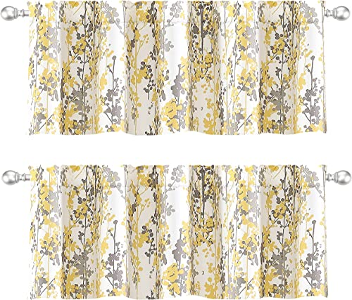 DriftAway Leah Abstract Floral Blossom Ink Painting Thermal Insulated Window Curtain Valance Rod Pocket 52 Inch by 18 Inch Plus 2 Inch Header Gray Yellow 2 Pack