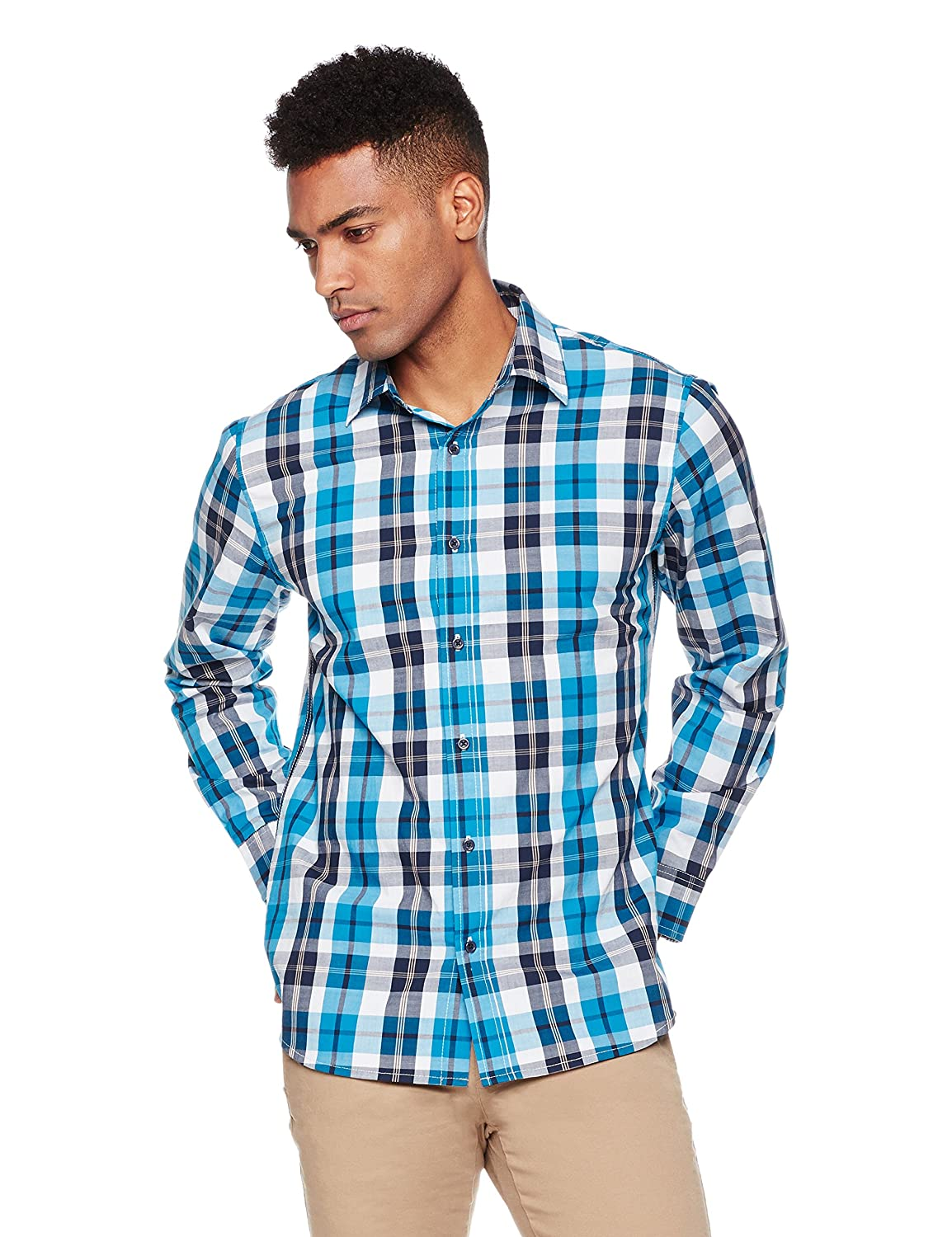 Wood Paper Company Mens Long Sleeve Regular Fit Clean Front Cotton Plaid Shirt