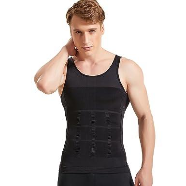 96d82bc259304 HANERDUN Mens Seamless Body Shaper Compression Vest Elastic Slim Shapewear  Slimming Shirt  Amazon.co.uk  Clothing
