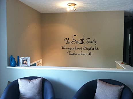 Quote It! - Family Name Together Personalized Wall Quote Vinyl Wall Decals Quotes & Quote It! - Family Name Together Personalized Wall Quote Vinyl Wall ...