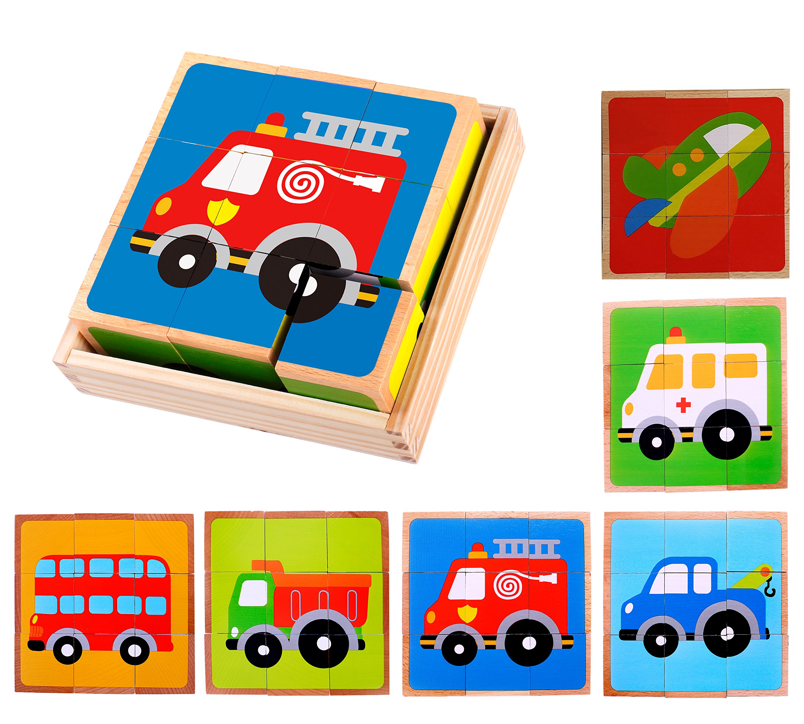 Premium Wooden Vehicle Block Puzzle (6 in 1) with Storage Tray for Toddlers Age 3 and up, Preschool Kids w/ Colorful Solid Wood Cube Pieces - Fire Truck, Airplane, Dump Truck, Ambulance, Bus