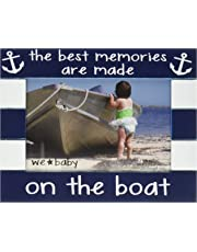 """We Baby Pavilion Gift Company The Best Memories Are Made on The Boat Picture Frame, Dark Blue, 6""""x4"""""""