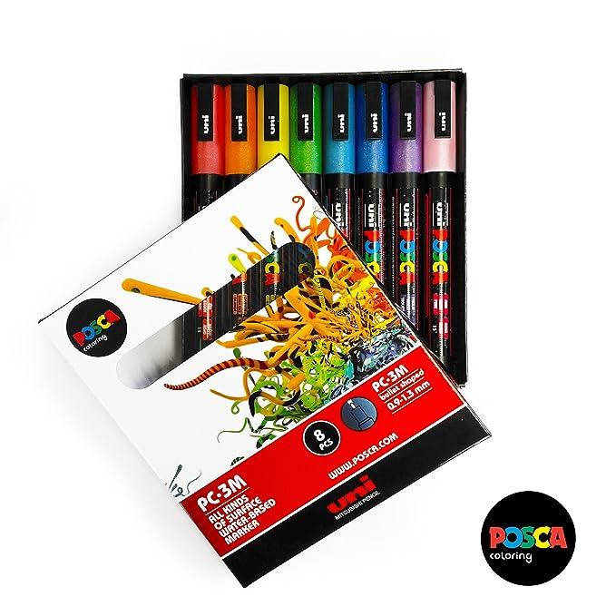 POSCA Glitter Paint Markers PC-3ML - Full Range Set of 8 Glitter ...