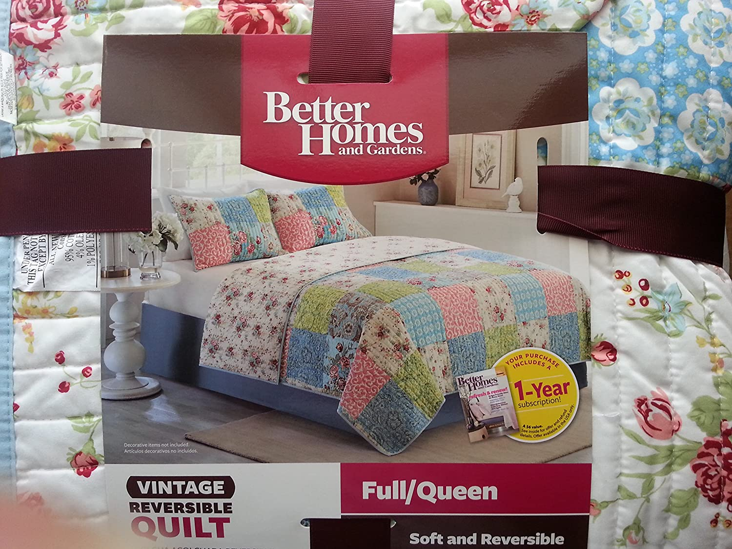 Better Homes and Gardens Multi-Color Vintage Bedding Quilt