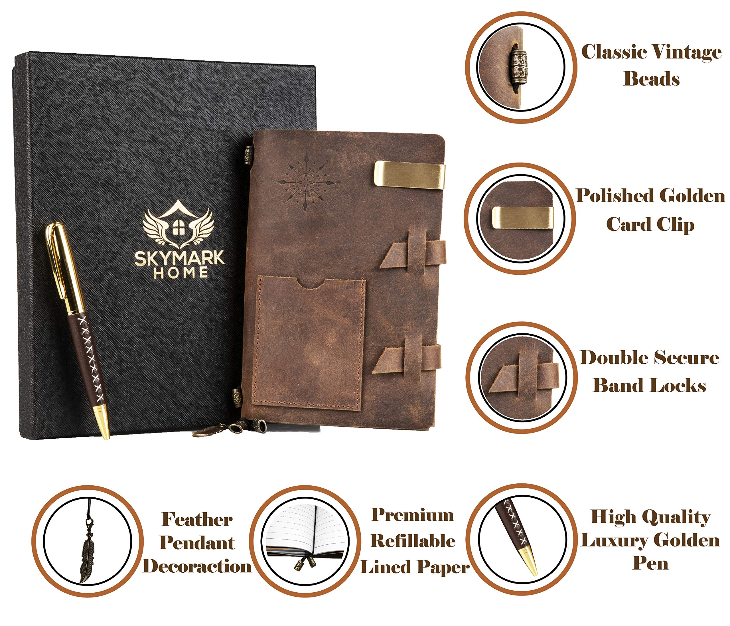 Leather Journal Handmade Travel Notebook - Vintage Antique Diary Writing notepad for men & women, Refillable Lined Paper 7 x 4.8 inches, Luxury Gift Box Set with Golden Classic Pen, Clip, Card holders by Skymark Home (Image #2)
