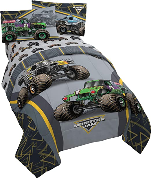 Amazon Com Monster Jam Mj Life 4 Piece Twin Bed Set Includes Reversible Comforter Sheet Set Bedding Features Grave Digger Max D Megalodon Super Soft Microfiber Official Monster Jam