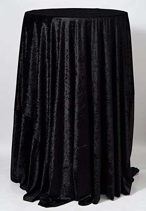 Black 132u0026quot; Round Crushed Velvet Tablecloth Wedding Decor Venue  Polyester Occasions