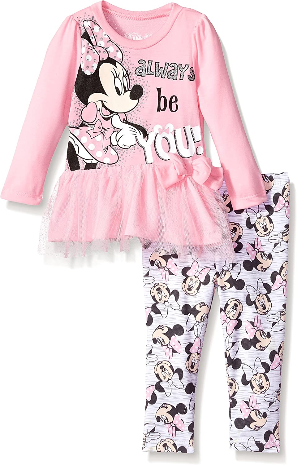 Disney Minnie Mouse Baby Girls Outfit Clothes 2 Pcs Gift Set Long Top Trousers