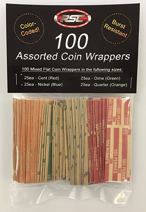 280 New Quarters-Dimes-Nickels /& Pennys Pop-Open Flat Paper Coin Wrappers Tubes