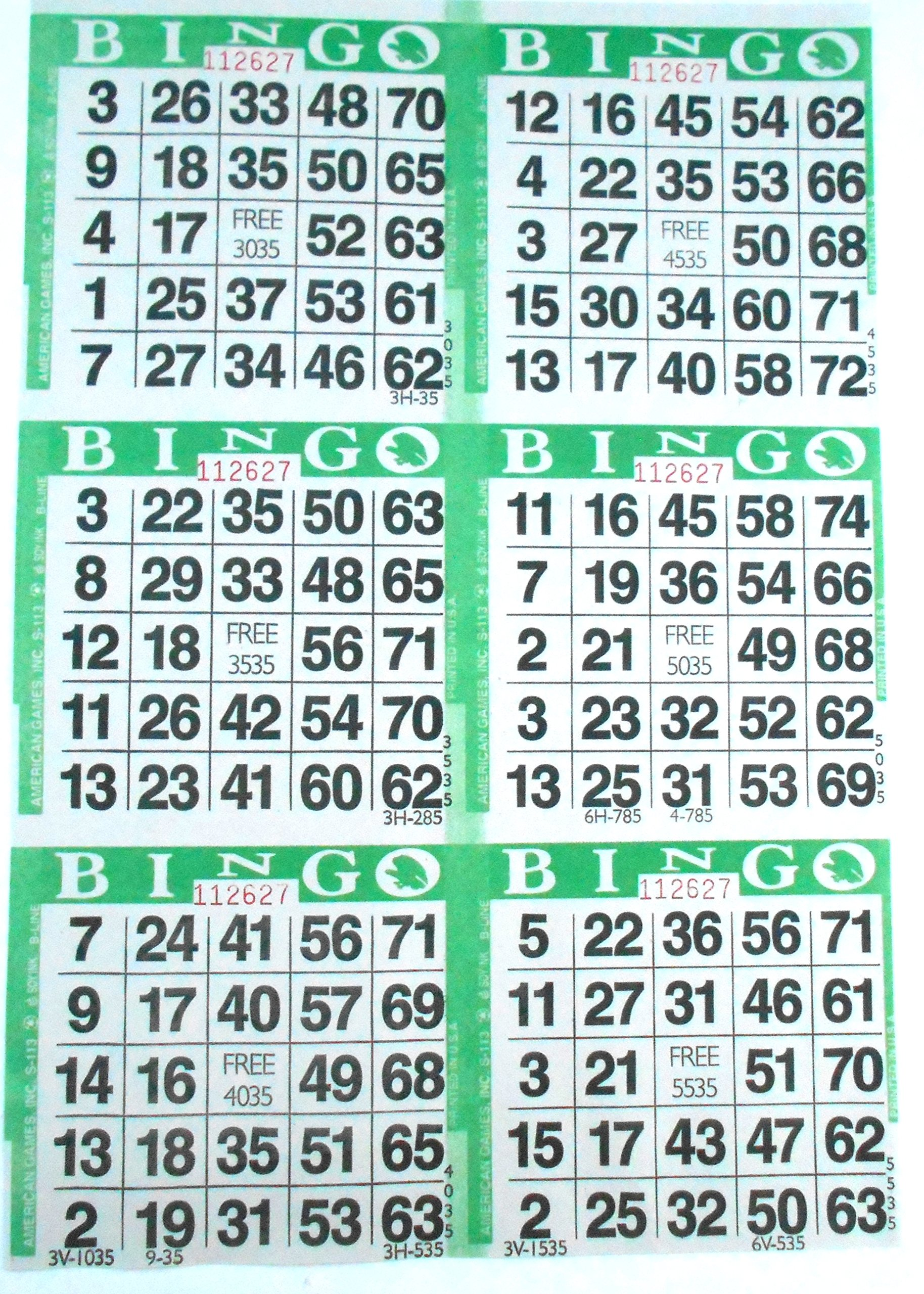 6 on Green Bingo Paper Cards - 500 sheets - 3000 cards