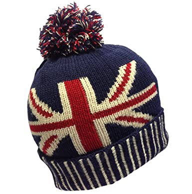 UNISEX MENS LADIESD UNION JACK FLAG BOBBLE BEANIE HAT- RED NAVY ... d16f155c74a