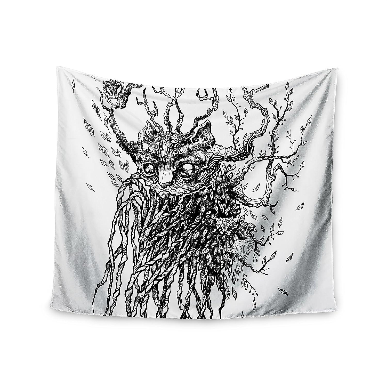 KESS InHouse Anya Volk Forest Spirit Black Nature Wall Tapestry 68 x 80