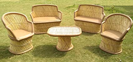 PatioStack Bamboo Outdoor Vintage Rattan & Wicker Sitting Sofa Chair & Table Furniture Set for Garden/Terrace / Lawn and Living Room [ 2 Chairs, 2 Double Seater Sofa Chairs & 1 Table ]