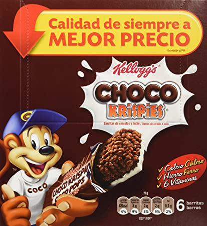 Choco Krispies Barrita de Cereales con Cacao y leche - Pack de 6 x 20 g