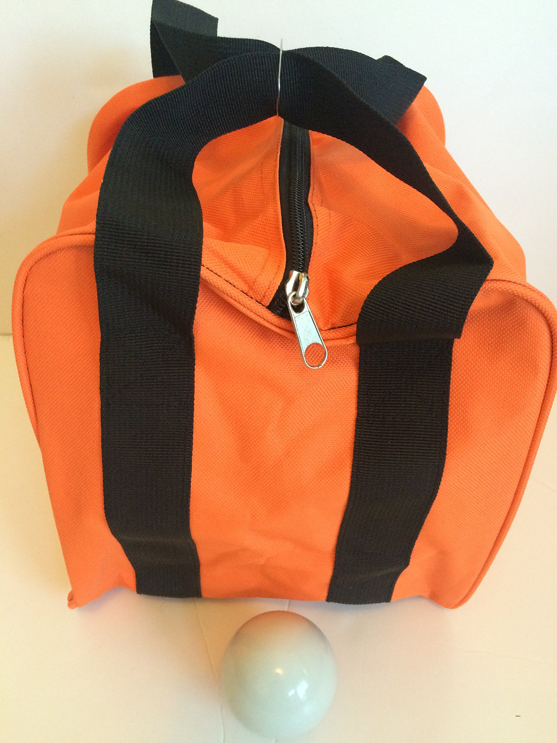 Unique Bocce Accessories Package - Extra Heavy Duty Nylon Bocce Bag (Orange with Black Handles) and White pallina by BuyBocceBalls