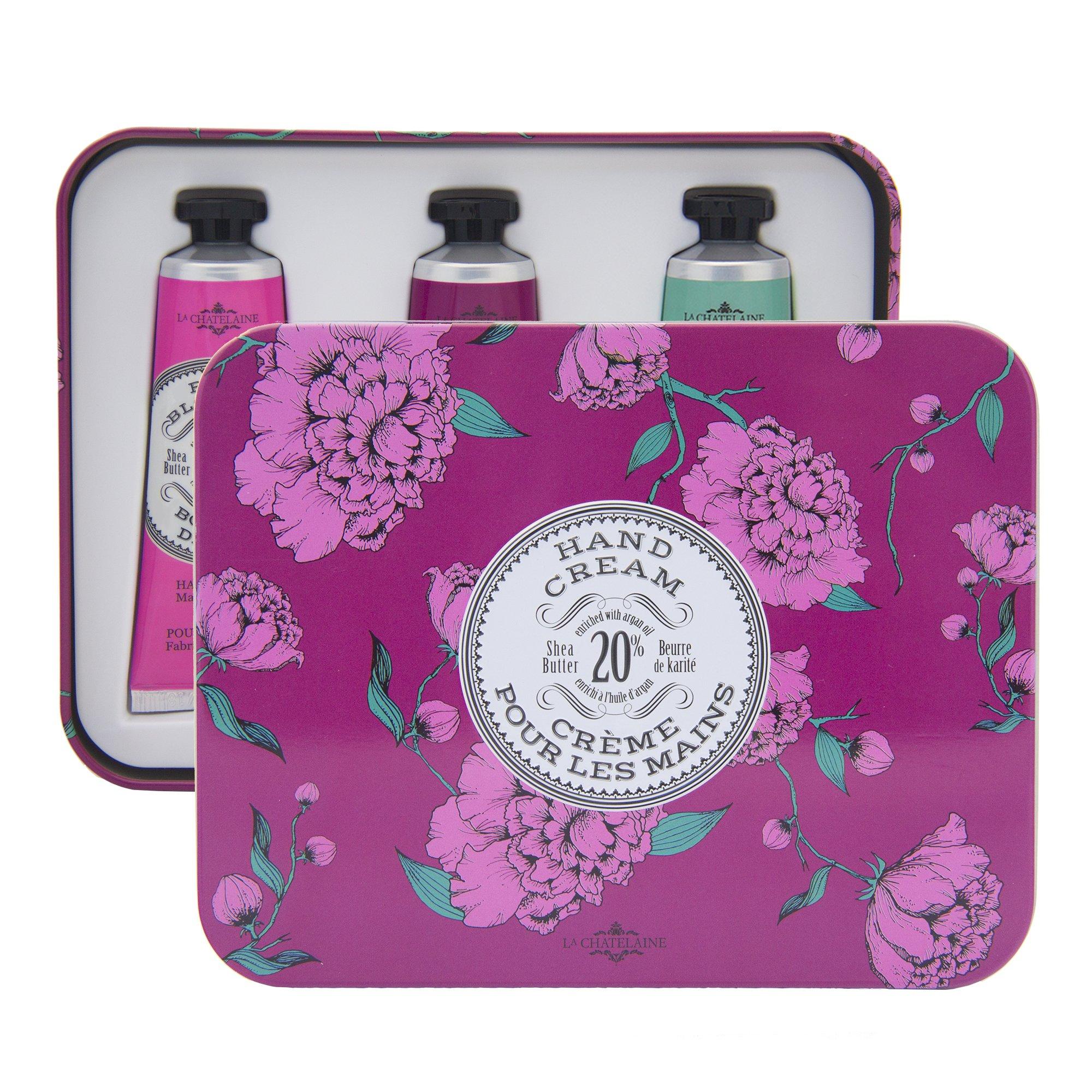 La Chatelaine 20% Shea Butter Hand Cream Eggplant Tin Gift Set, Cherry Almond, Wild Fig, Winter Flower