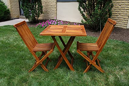 Exceptionnel Ala Teak Wood Patio Outside Garden Yard Folding (Table And 2 Chair Set)  Fully