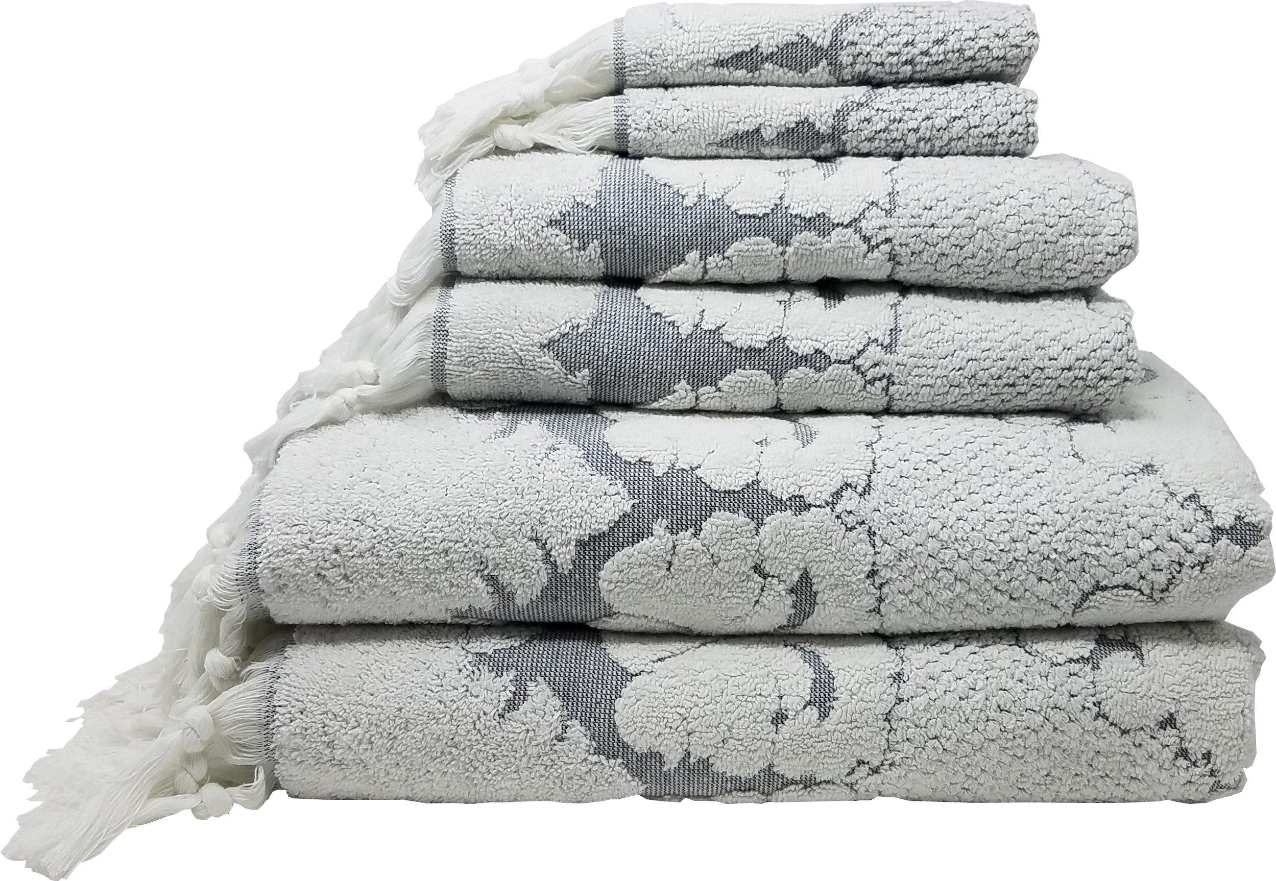 Nysa 100-Percent Genuine Turkish Cotton Floral Ornament Jacquard Hand-Knotted Fringe 6-Piece Towel Set - (Grey)