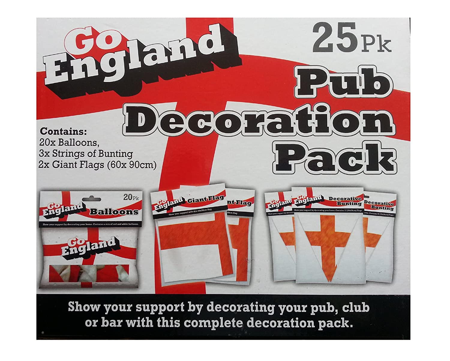 Go England! Pub Decoration Pack. Balloons, Bunting and Giant Flags ...