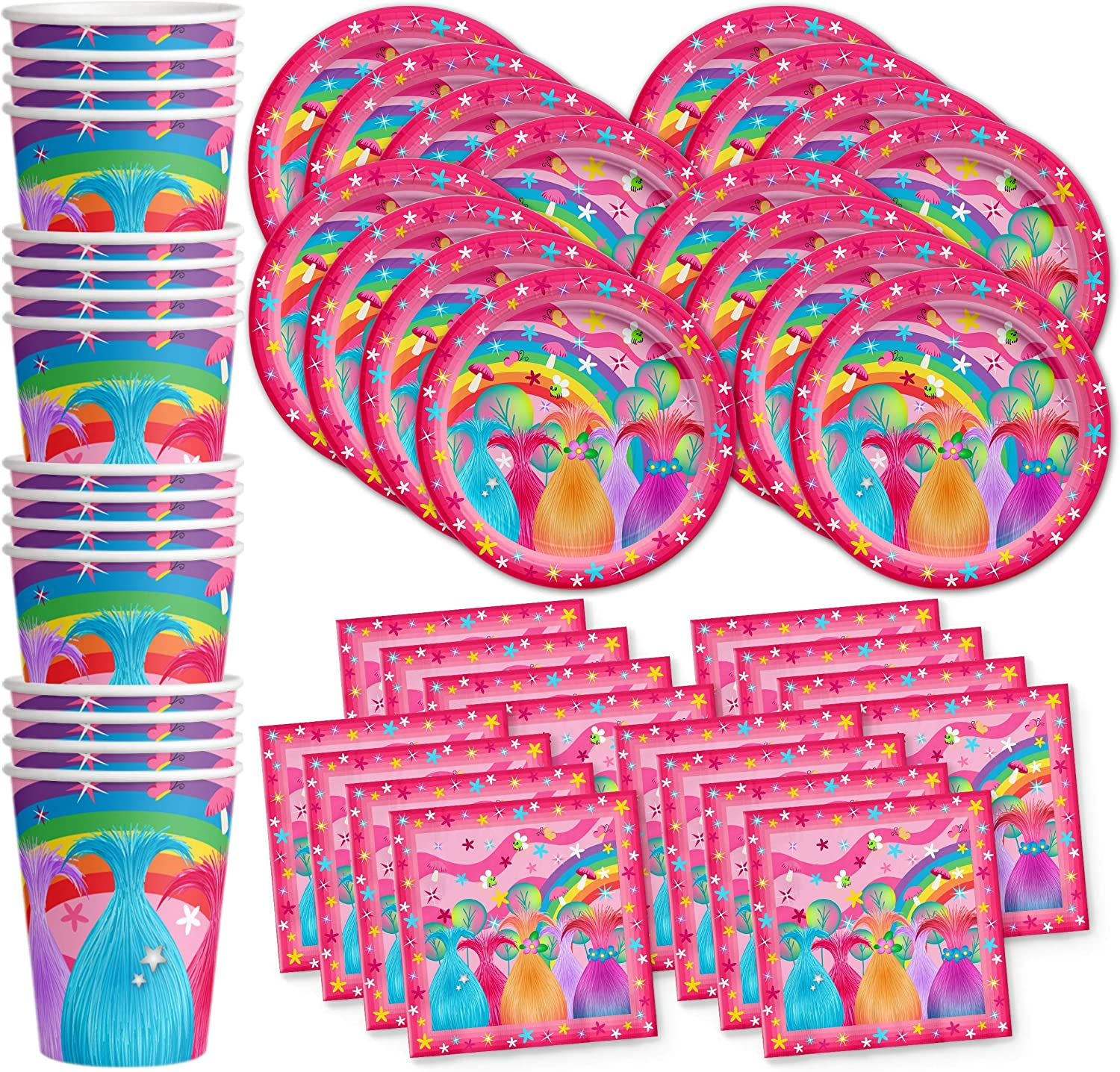 Trolls Party Birthday Party Supplies Set Plates Napkins Cups Tableware Kit for 16