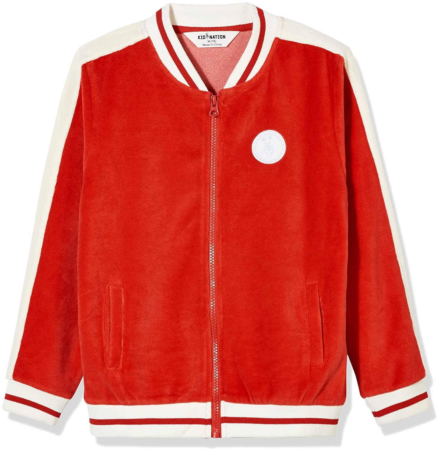 Kid Nation Kid's Velour Varsity Zip Front Jacket for Boys or Girls KNB170300079