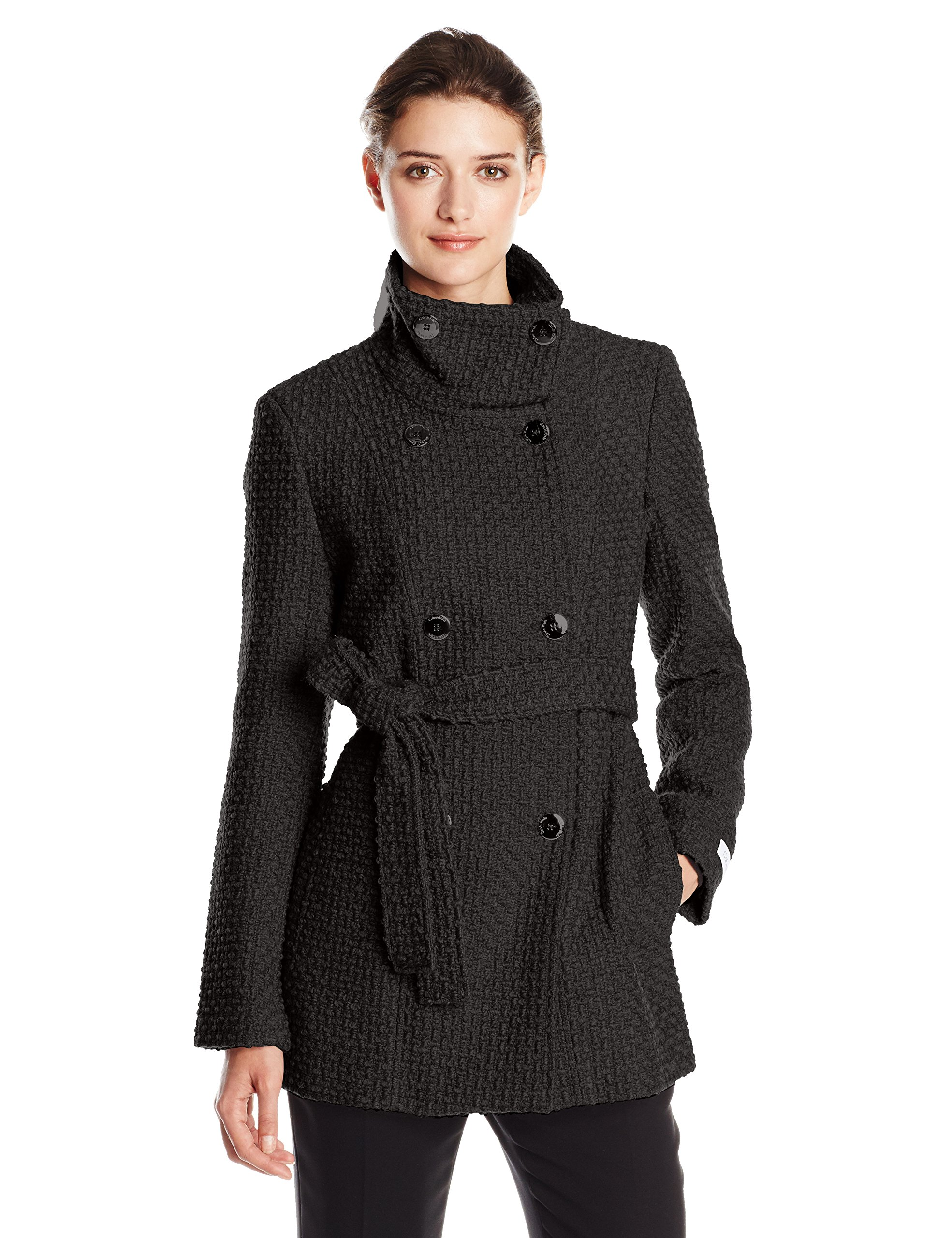 Calvin Klein Women's Double Breasted Wool Coat with Belt, Black, Large