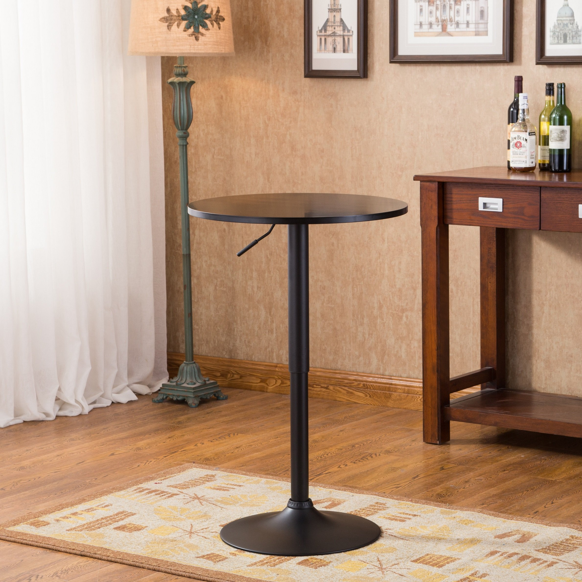 Roundhill Furniture Belham Black Round Top Adjustable Height with Black Leg And Base Metal Bar Table