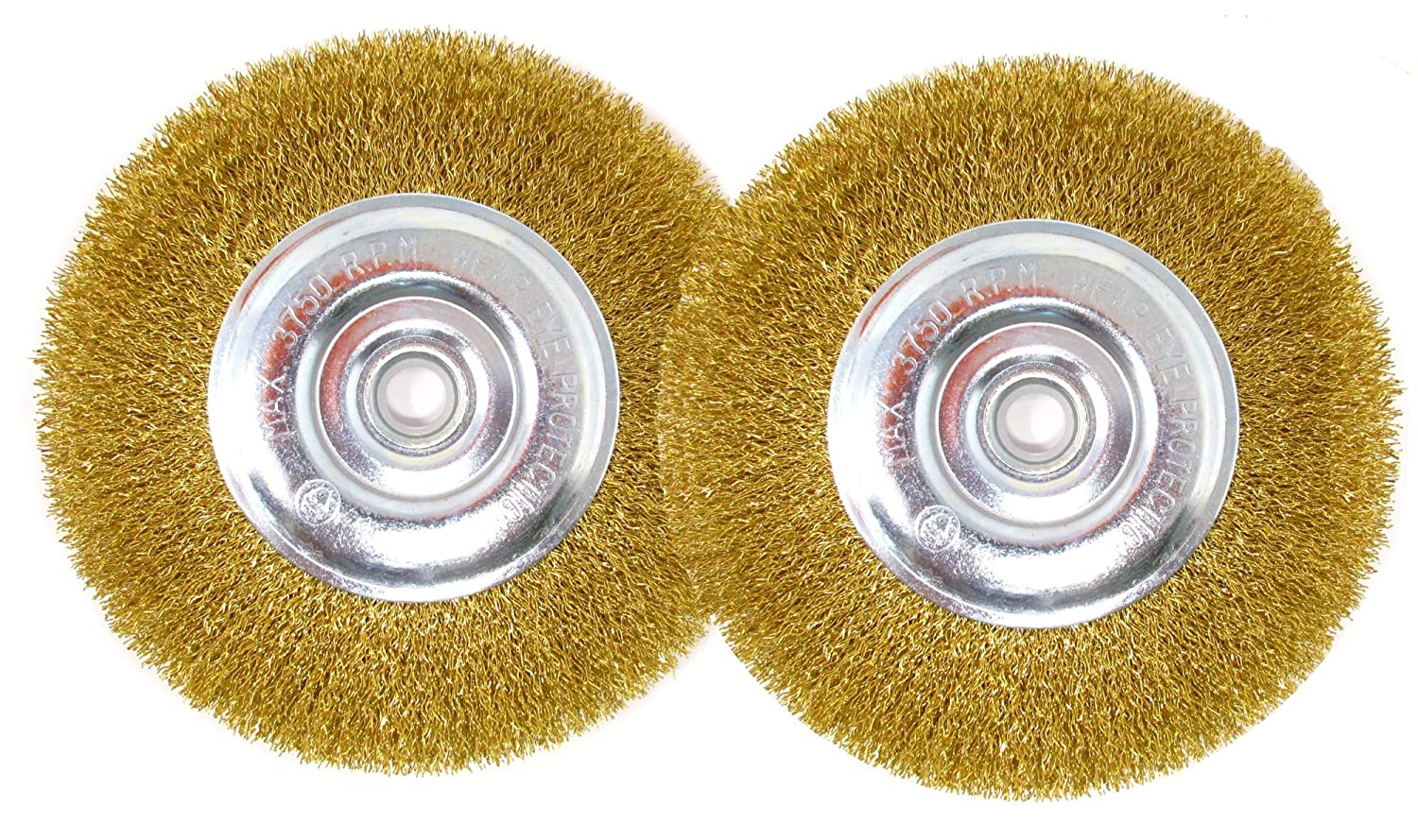 6 Inch Brass-Coated Wire Wheel Brush for Bench Grinder - Pack of 2 - Fine and Coarse LINE10 Tools