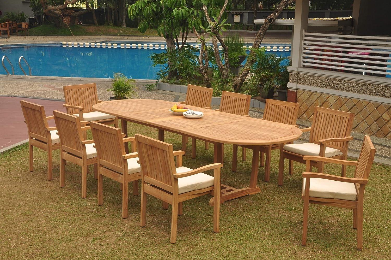 WholesaleTeak 10 Seats 11 Pcs Grade A Teak Wood Dining Set: 118u0027 Double  Extension Mas Oval Trestle Leg Table And 10 Leveb Stacking Arm Chairs  #WHDSLV53