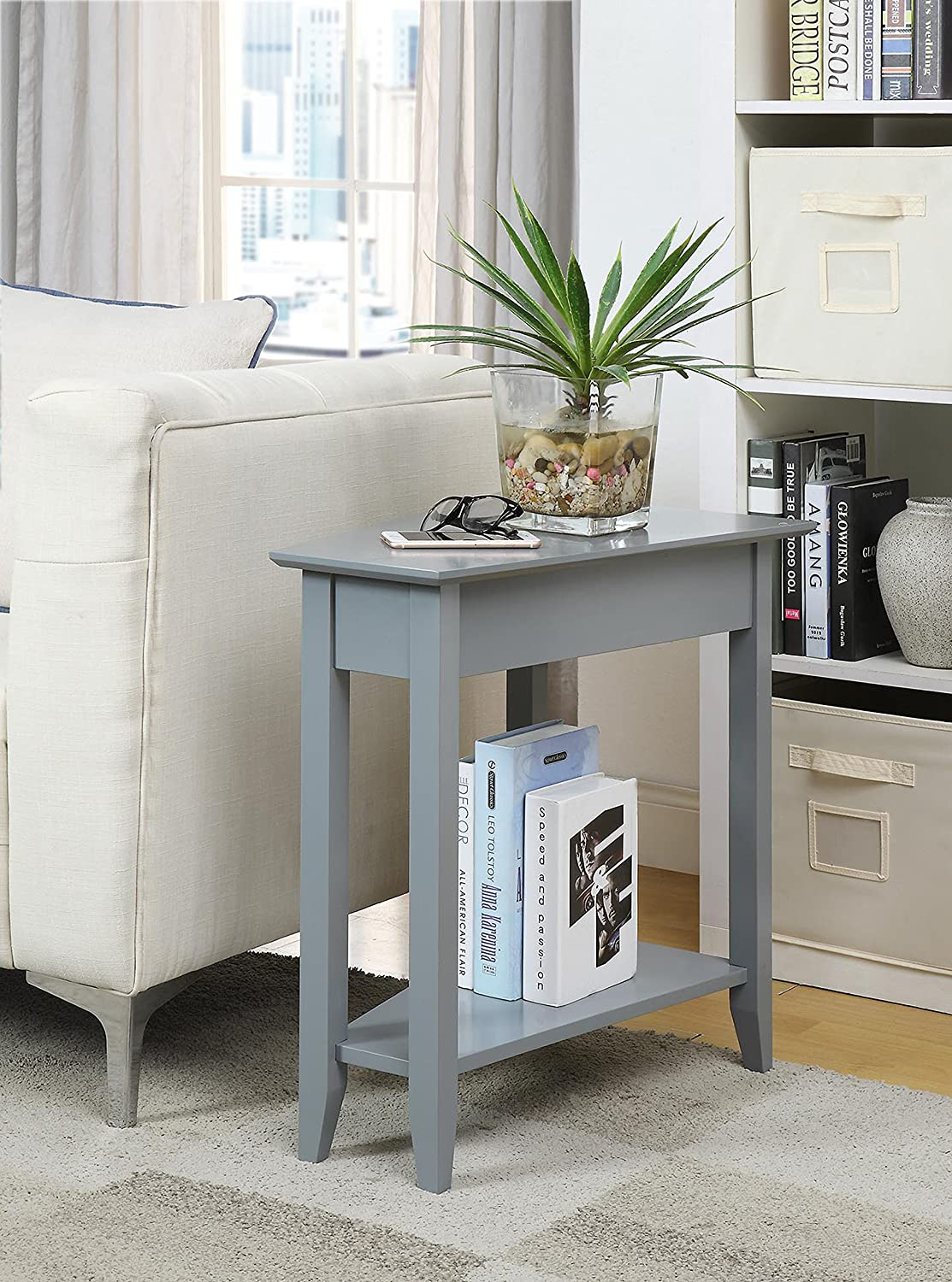 Convenience Concepts American Heritage Modern Wedge End Table, Black 7105060-BL