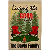 Living The Good Life Personalized Weatherproof Campsite Flag (Tan Fabric, Red)