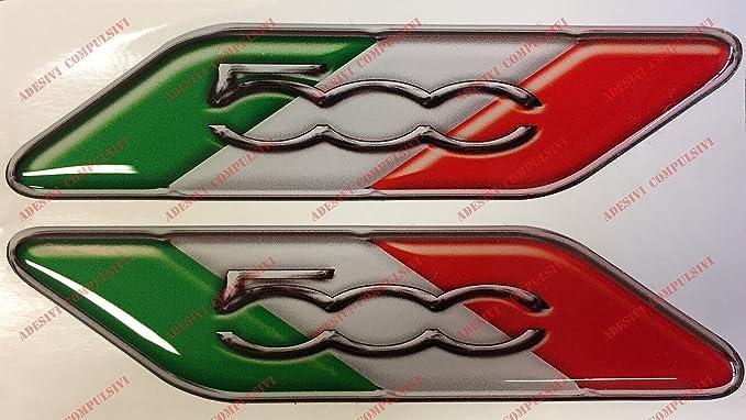 Para de adhesivos con inscripción Fiat 500 y bandera italiana.Adhesivos de resina, efecto 3d.Banderines triicolor para Fiat 500, 500 Abarth, nuevo Fiat 500: ...