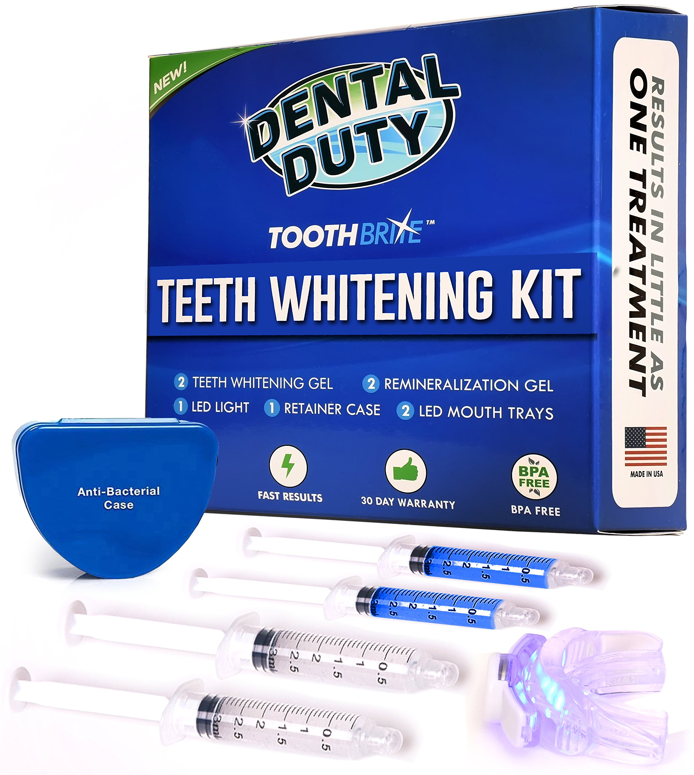 Professional Teeth Whitening Kit - Made in USA - includes 2 Whitening Gel, 2 Tooth Remineralization Gel, Whitening Trays and LED Accelerator Whitener Light for Faster Results.