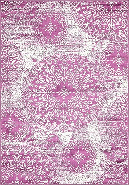 Amazon.com: Modern Vintage Inspired Overdyed Area Rugs Purple 4\' x 6 ...