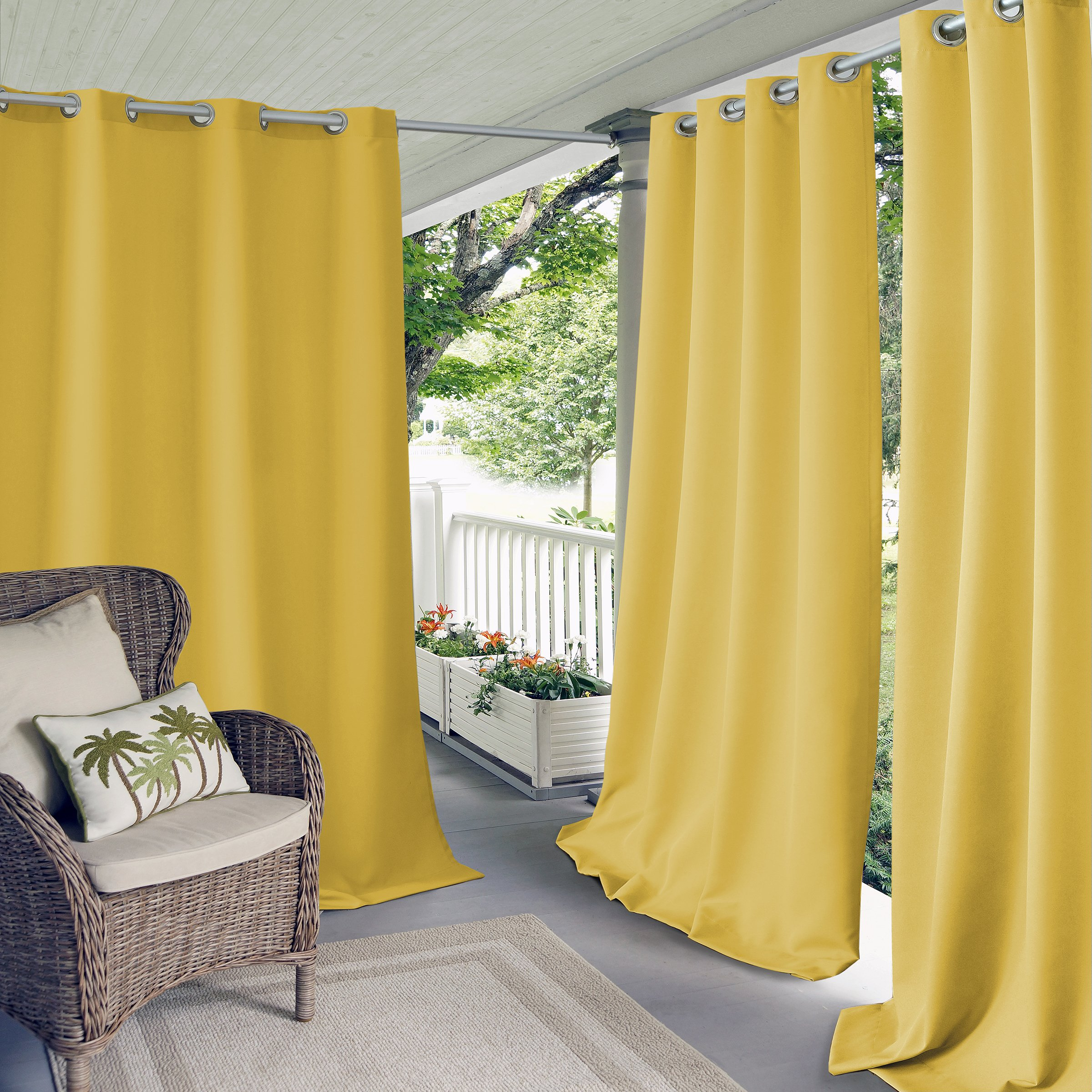 Elrene Home Fashions Connor Indoor/Outdoor Solid Grommet Panel Window Curtain 52'' x 95'' (1), Yellow