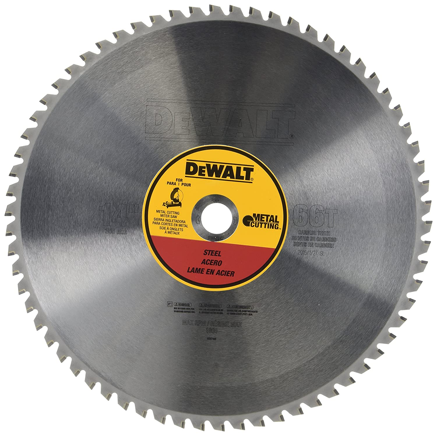 DEWALT DWA7747 66 Teeth Heavy Gauge Ferrous Metal Cutting 1-Inch Arbor, 14-Inch