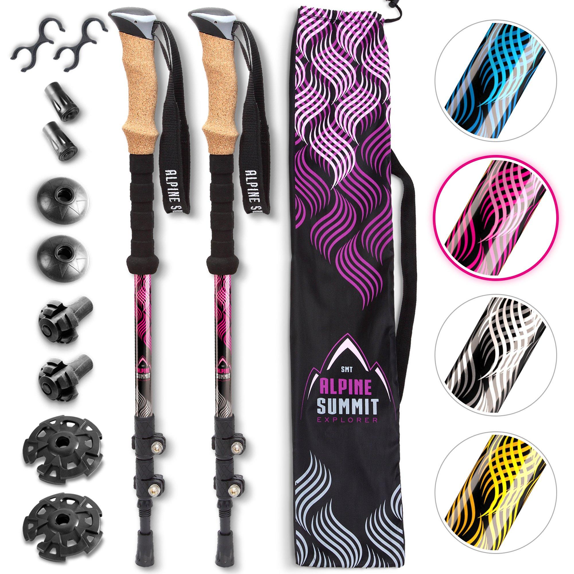 Premium Aluminum Hiking/Trekking Poles with Anti-Shock Tips, Walking Sticks with Cork Grips - Enjoy Pole Trekking in The Great Outdoors
