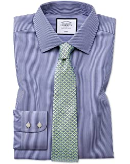 5e875b7f Classic Fit Non-Iron Navy Bengal Stripe Cotton Formal Shirt Double Cuff by Charles  Tyrwhitt