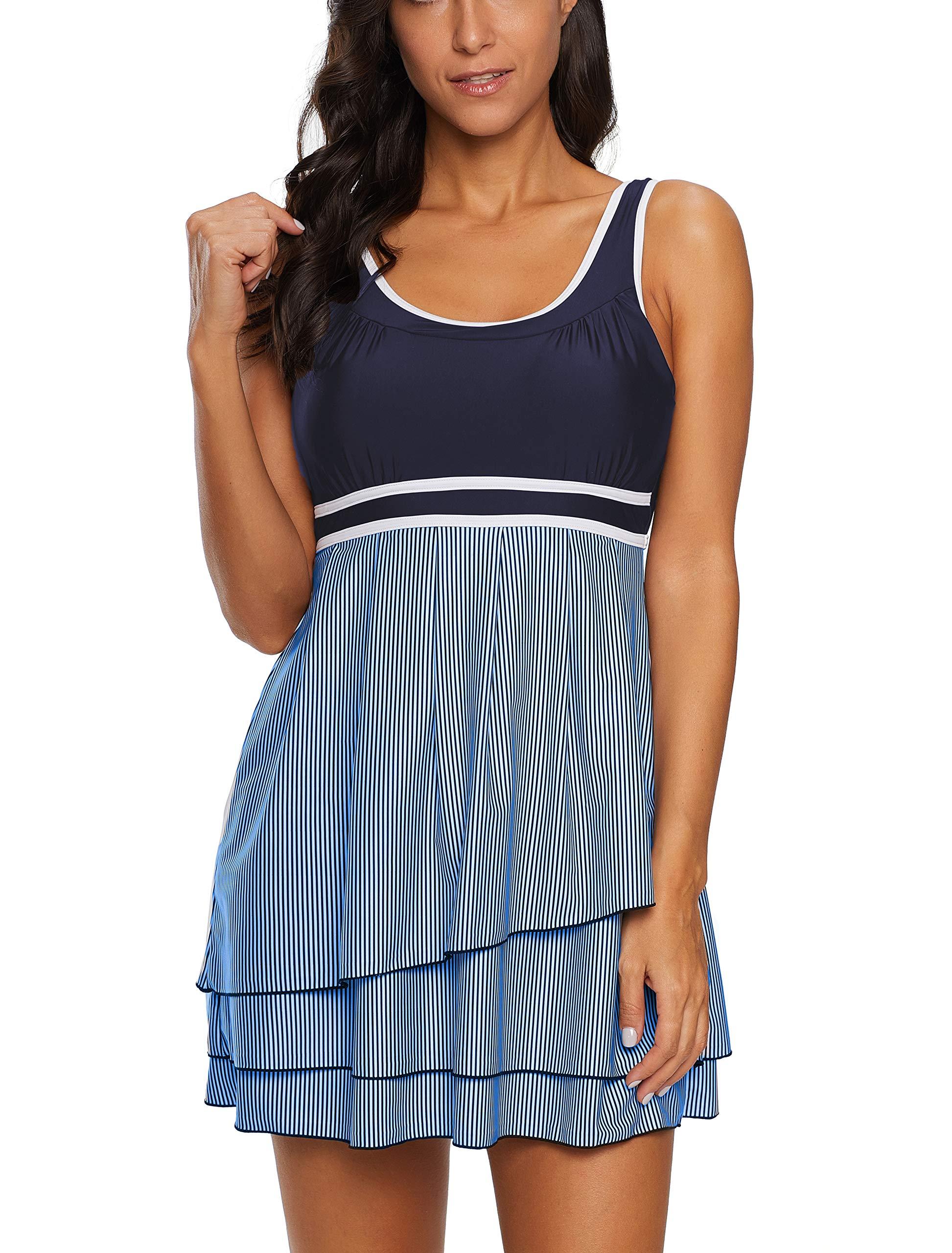 YAMENUSA Women's Slimming Swimdress Cover Up Tummy Control Swimsuits for Women Retro Swimwear Bathing Suit Blue/2pc Medium(US:8-10)