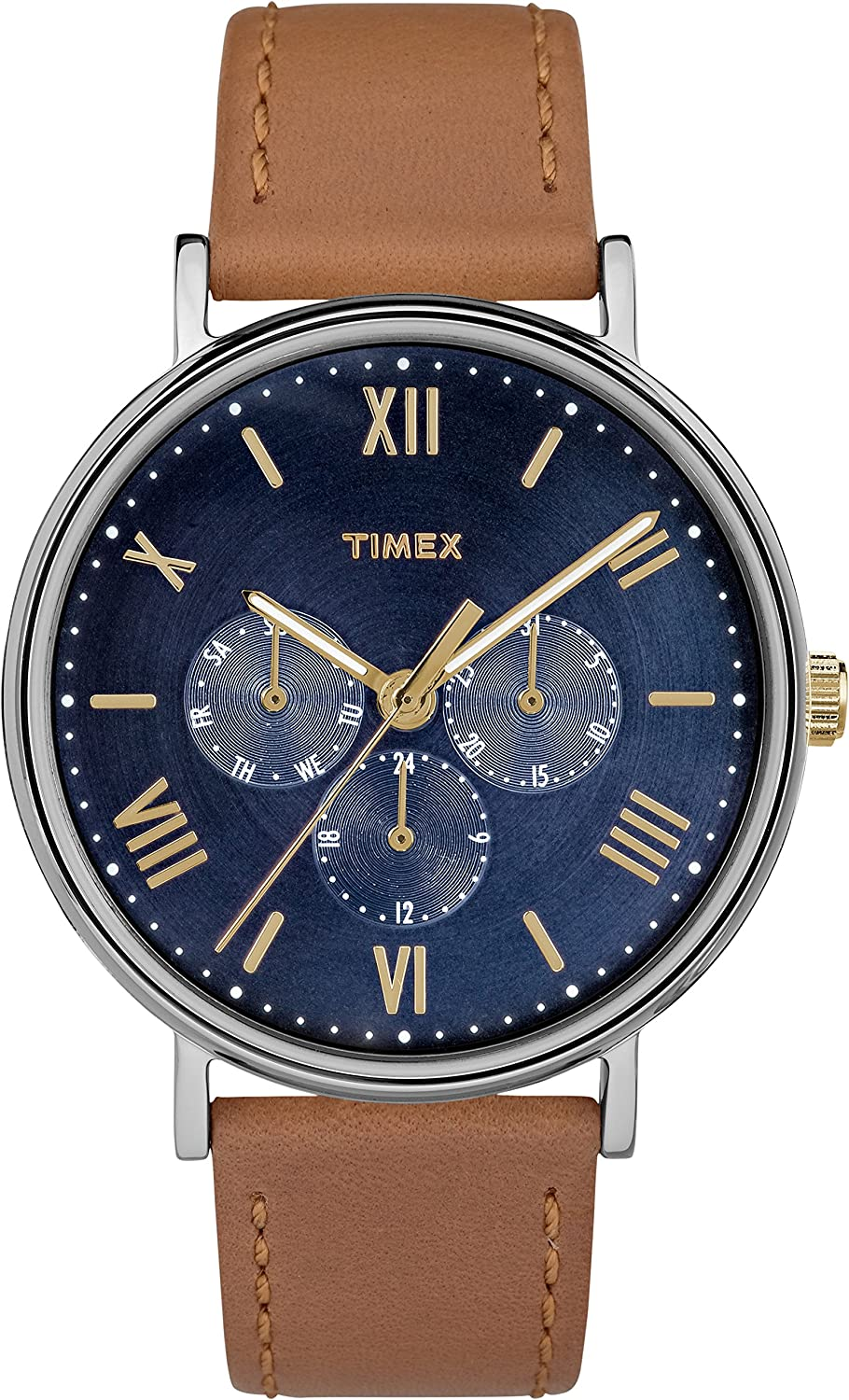 Timex Women s T2P564 Easy Reader Rose Gold-Tone Brown Leather Strap Watch