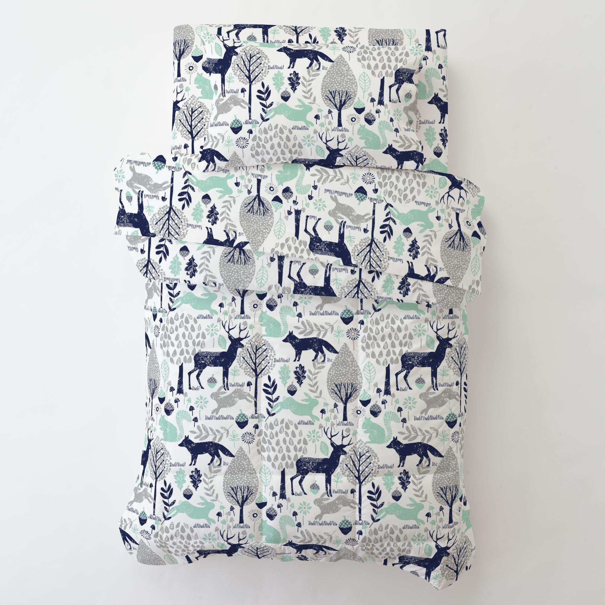Carousel Designs Navy and Mint Woodland Animals Toddler Bed Comforter by Carousel Designs (Image #2)