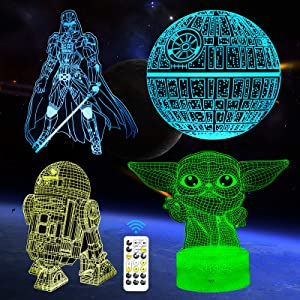 Timer Function, FEOAMO 3D Illusion Star Wars Night Light, 4-Pattern & 7-Color with Remote, Toy Gift for Star Wars Fans Boys Girls Men, 3D LED Lamp Nightlight for Room Décor