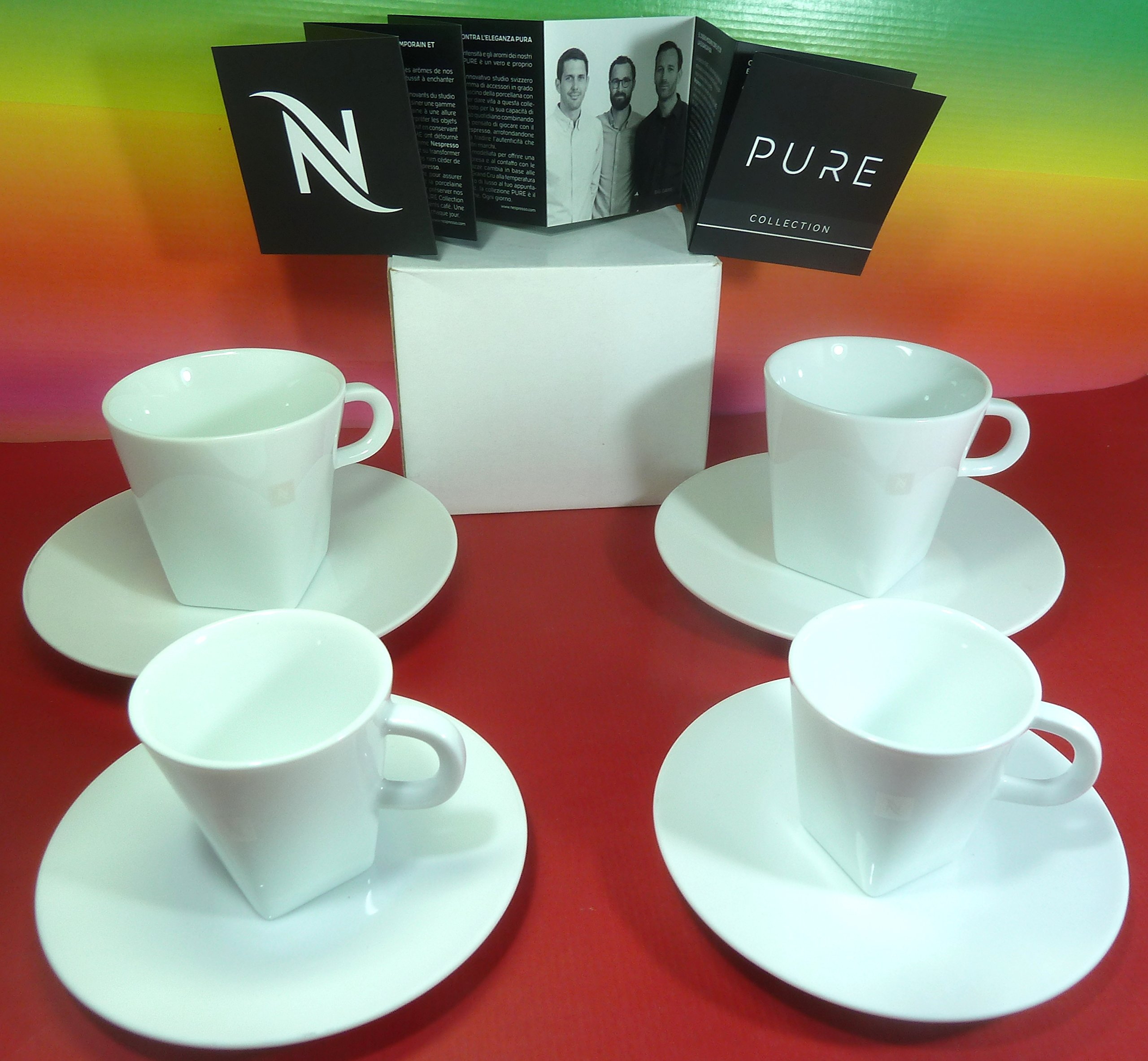 Nespresso Pure Collection 4 White Porcelain Cups with 4 Saucers ,(2 Lungo Cups, 2 Espresso Cups) Wonderful,Big Game Design ,In Brand Luxury Gift Boxes , New