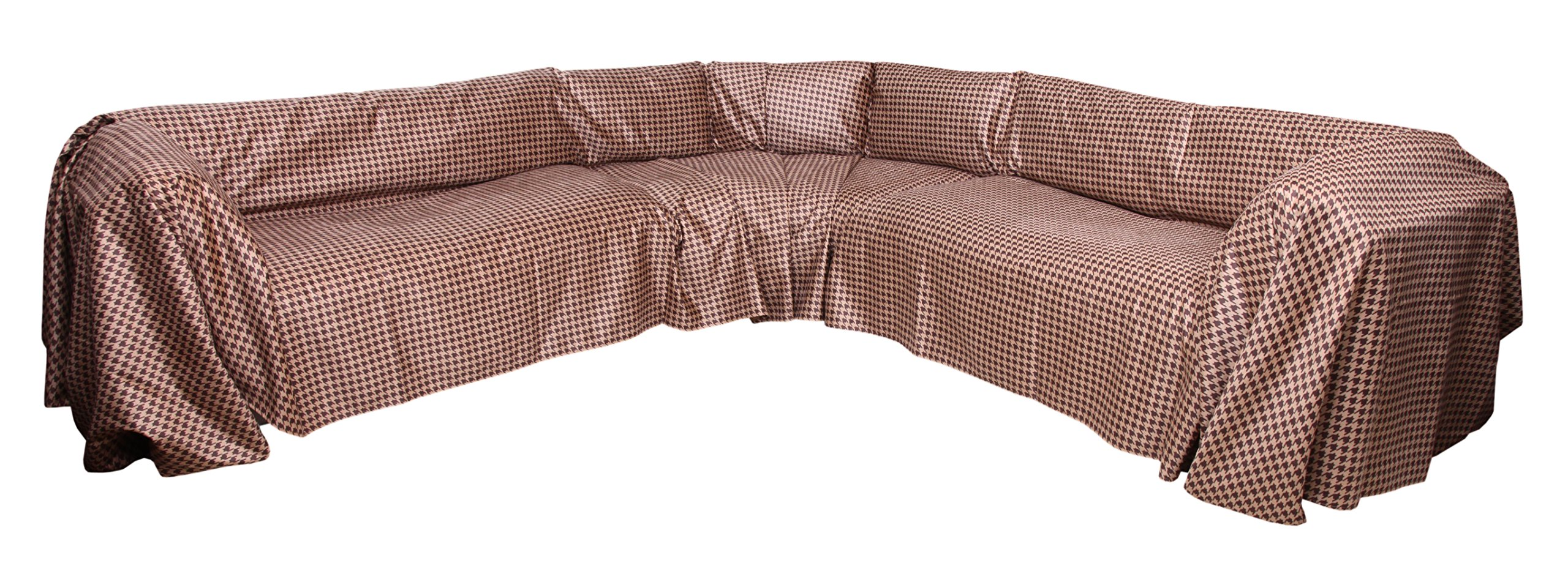 """Floppy Ears Design Simple Faux Suede Microfiber Sectional Couch Cover Protector (Large for Sectional 70"""" W x 250"""" L, Chocolate and Tan Houndstooth Print) by Floppy Ears Design"""
