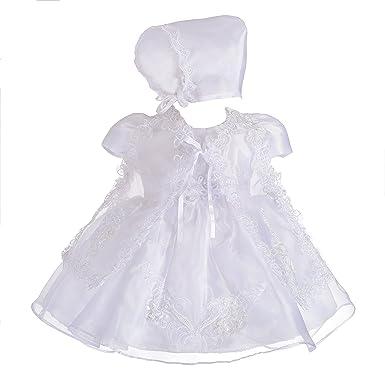 5b473aeb46ac Dressy Daisy Baby Girls' 3 pcs Lace Baptism Christening Dresses with Cape  Bonnet Infant Size