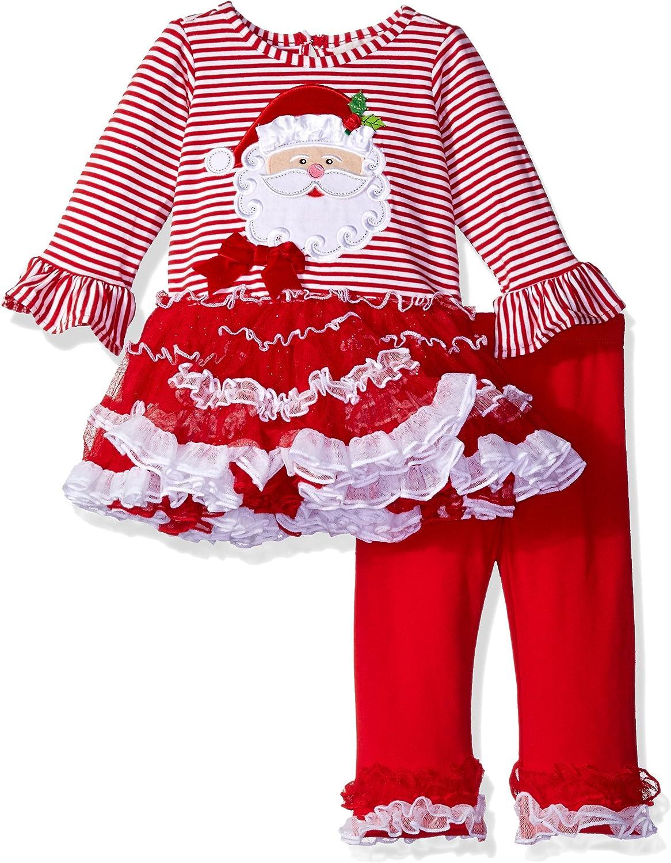 Rare Editions Little Girls Santa Stripe Tutu Legging Set