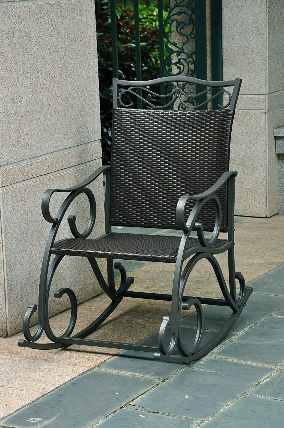 Amazon com lisbon resin wicker and steel rocking chair living room furniture sets garden outdoor