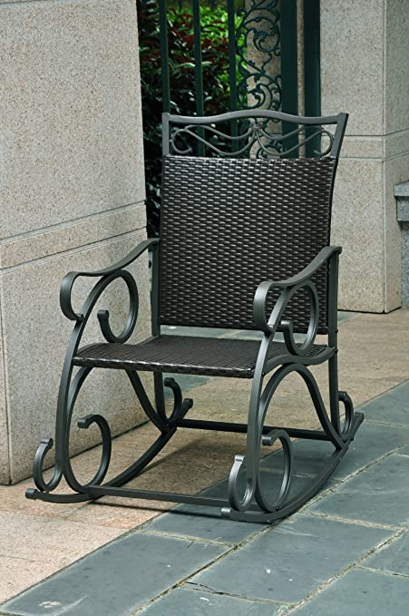 Superb Amazon Com Valencia Resin Wicker Steel Frame Patio Rocker Gmtry Best Dining Table And Chair Ideas Images Gmtryco